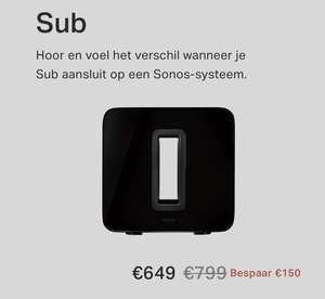150 euro korting op Sonos Sub en Playbar