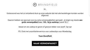 Brandfield Gratis verwenpakket t.w.v. 100,- vanaf 50,-