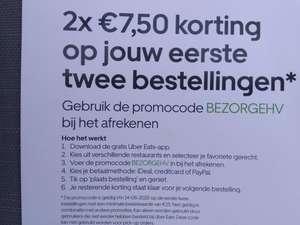 2x €7,50 korting Uber Eats eerste twee bestellingen