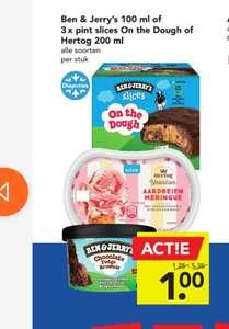 3 stuks Ben & Jerry's Slices on the Dough voor €1 bij Deen