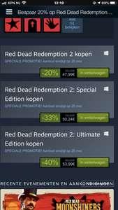 Red Dead Redemption 2 alle versies korting ( prijs is standaard editie )