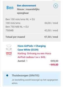 HOCO AIRPODS + CHARGING CASE WHITE (ES39) voor 7,50 icm een maandelijks opzegbaar sim only abonnement