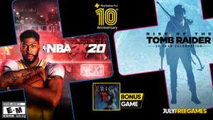 PS+ Games Juli (Rise of the Tomb Raider: 20 Year Celebration - NBA 2K20 - Erica)