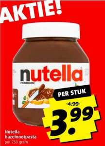 Nutella 750 gram voor €3,99 @Boni
