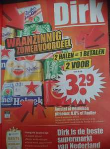Twee 6-pack Amstel of Heineken, 0,0% of Radler 2 voor 1 bij Dirk