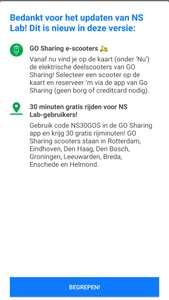 Dertig minuten gratis GO Sharing code van NS Labs