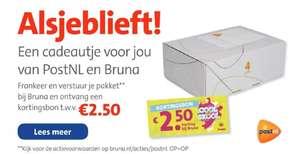 Verstuur en frankeer je pakket bij Bruna en krijg een kortingsbon van €2,50