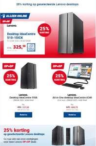 25% korting op meerdere desktops en all in one's PC's van Lenovo bij Office Centre