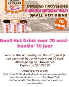 Dunkin' Donuts: Small hot drink of Original glazed donut voor € 0,70
