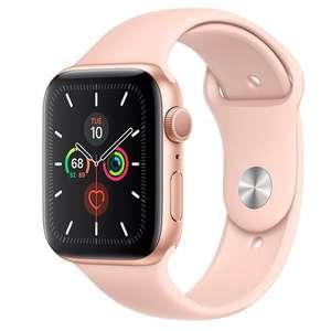 Apple Watch Series 5 44mm Goudkleurig aluminium - Rozenkwarts sportbandje