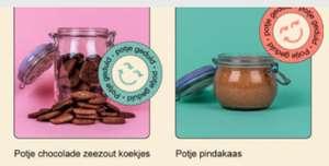 Gratis potje chocolade zeezout koekjes en potje pindakaas bij Pieter Pot (online) supermarkt
