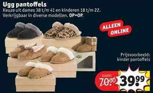 Uggs Pantoffels €39,99 @Kruidvat