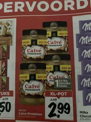 Calvé Pindakaas (alleen gewone variant) voor €2,99 bij de Vomar voor 800 gram (€3,74 per kilo)