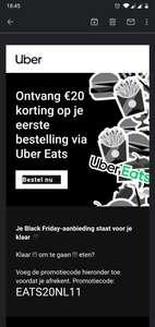 €20 korting @Uber Eats