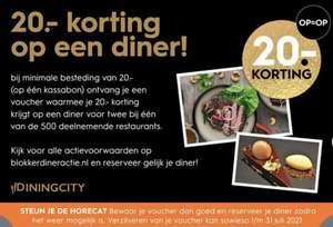 Dineractie 20 euro korting bij 500 restaurants @ Blokker