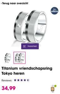 Tweede (goedkoopste) ring gratis bij vriendschaps ringen