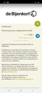 5 euro korting op 50 euro bijenkorf cadeaulaart @ Eurosparen