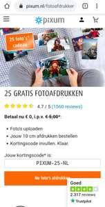 PIXUM 25 gratis 10cm foto's afdrukken (ex. verzending)