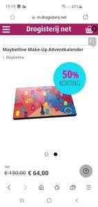Korting op Maybelline adventkalender en gratis verzending