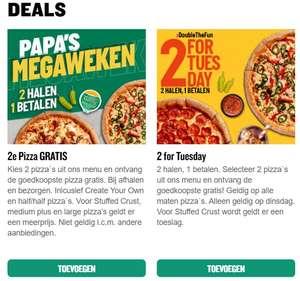 Pizza: 2 halen 1 betalen @ Papa John's