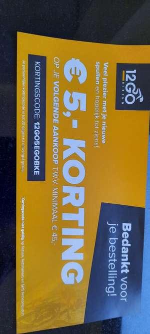 5 euro korting bij minimaal 45 euro besteding @ 12GO Biking