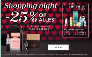 Vanaf 18u: Shopping Night = 25% korting + Lancôme en YSL 10% extra [18-19.30] @ Douglas