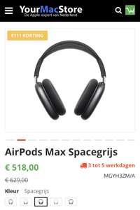 Apple AirPods Max Spacegrijs (zwart) voor €518 via YourMacStore
