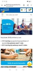 [GRENSDEAL BELGIË] Dreamland 20% korting bij aankoop van 2 spellen/puzzels (bijvoorbeeld 'Doolhof' voor 16 euro)