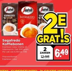 Segafredo koffiebonen 1+1 gratis