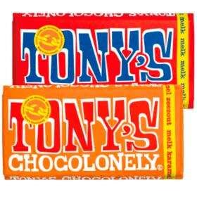 Tony's Chocolonely Tony's Chocoloneley repen 180gr - 2 voor 4.89 Alle repen à 180 gram, combineren mogelijk 2 repen