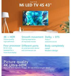 Xiaomi Mi TV 4S 43 Inch Voice Control 5G WIFI bluetooth 4.2 4K HD Android Smart TV NetFlix Official Amazon Prime Video Google Assistant