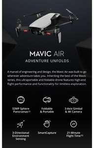 DJI Mavic Air 4KM FPV w/ 3-Axis Gimbal 4K Camera 32MP Sphere Panoramas RC Drone Quadcopter RTF white Evt fly more combo
