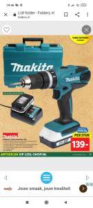 Makita klopboor-/schroefmachine-18v- incl. 2 accu's en lader
