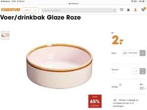Voer/drinkbak Glaze in roze, groen en grijs