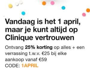 Clinique 25% korting (op bijna alles) + verrassingscadeau twv €25 bij besteding vanaf €59 + gratis samples