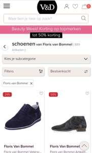 Floris van Bommel schoenen bij V&D tot 50% korting