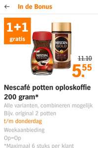 ; nescafe 1+1 gratis t/m donderdag
