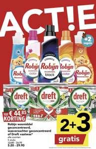 Nu Robijn wasmiddel en wasverzachter of Dreft vaatwas 2 + 3GRATIS bij DEEN