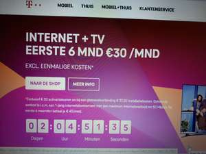 Internet en TV van T-Mobile Thuis - Eerste 6 maanden €30 per maand (Basic abonnement, excl. activatiekosten)
