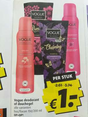 Vogue deodorant of douchegel @ Boni