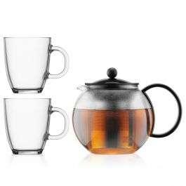 Bodum Assam theepot met rvs filter, 1.0 l met 2 glazen mokken, 0.35 l voor €24,25 @ Bodum
