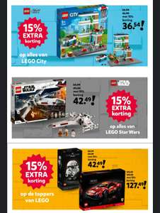 15% korting op alles van LEGO Star Wars, LEGO City en LEGO Toppers