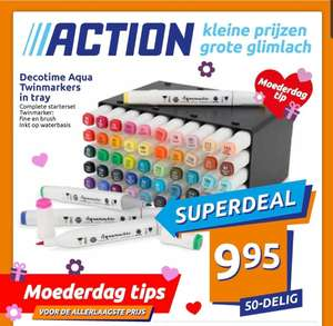 @Action. 50-delig decotime aqua twinmarkers in tray €9.95