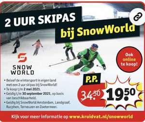 2 uur Skipas voor SnowWorld bij Kruidvat
