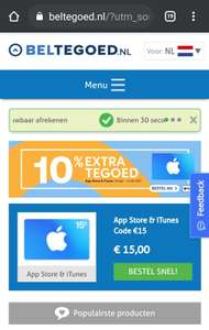 10% extra Apple tegoed @ beltegoed.nl