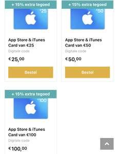 15% extra tegoed op ITunes kaarten