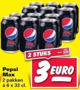 2 sixpacks Pepsi Max voor €3,- @ Nettorama