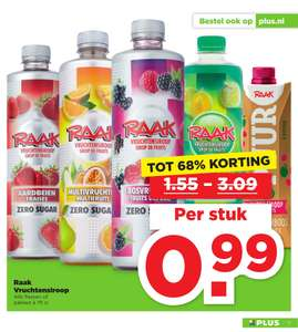 Alle Raak vruchtensiroop flessen en pakken à 75cl @ Plus