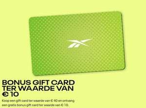 Gratis Reebok gift card van €10 bij aankoop van een Reebok gift card van €40