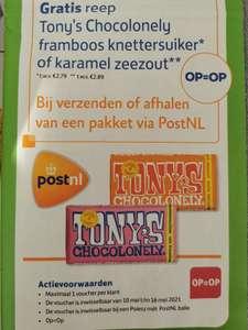 Gratis reep Tony's Chocolonely bij verzenden of afhalen pakket via Post NL bij Poiesz